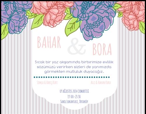 Düğün davetiye_pembe çiçek