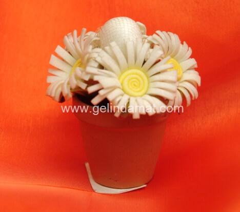 Hera Design - Nikah Şekeri-saksılı çiçek nihah şekeri