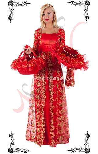 J Kaftans Bindallı Kaftan-kırmızı  dantelli bindallı kıyafeti