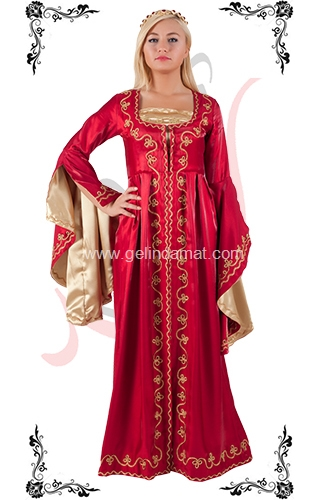 J Kaftans Bindallı Kaftan-kırmızı kaftan elbisesi