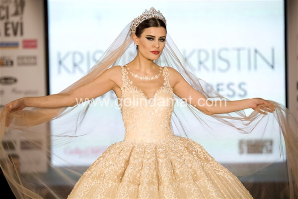 Kristina Kristin  -  Kristina Kristin-Krem Taşlı Gelinlik