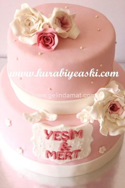 Pembe Düğün Pastası-Kurabiye Aşkı