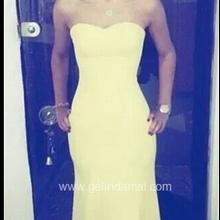 Sarı Abiye Elbise-Hürmüz Modaevi